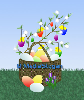 A basket filled with Easter eggs and twigs.