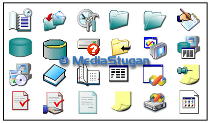 Several icons for a computer program.