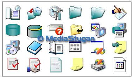 Flera ikoner till ett dataprogram.