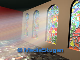 Light through stained glass windows.