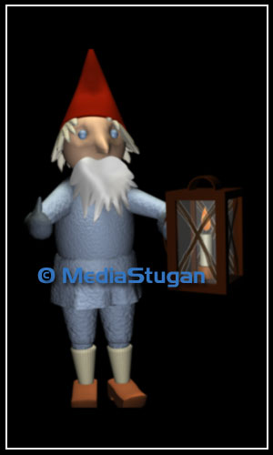 A gnome with a lantern in his hand.