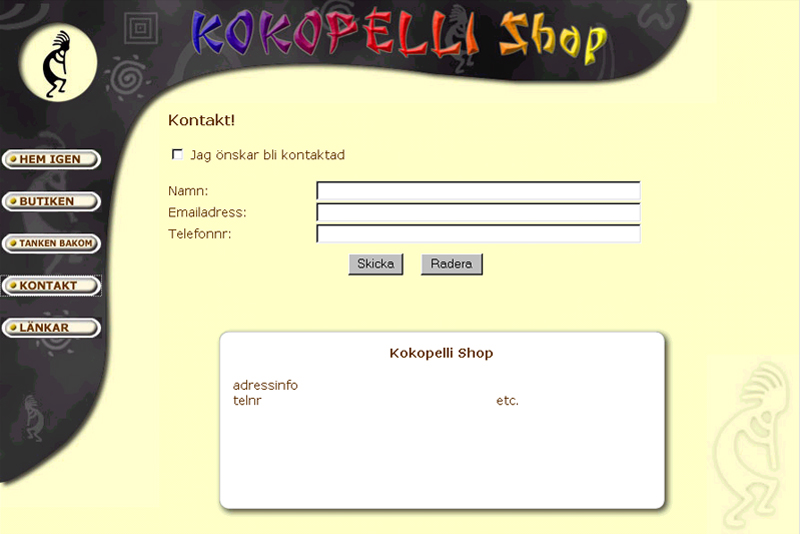 En hemsida till Kokopelli Shop.