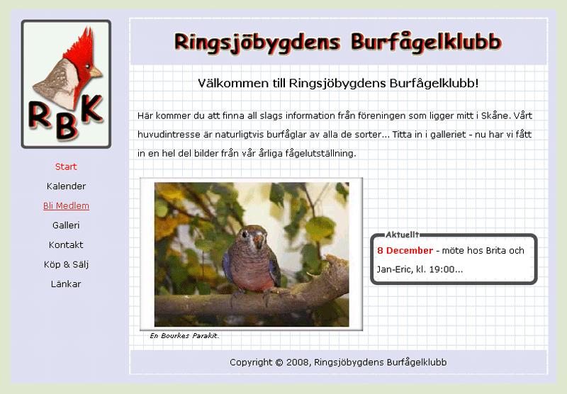 Ringsjöbygdens Burfågelklubbs website.