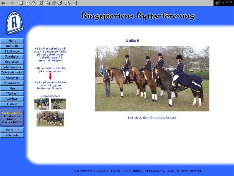 Ringsjöortens Ryttarförening gamla hemsida.