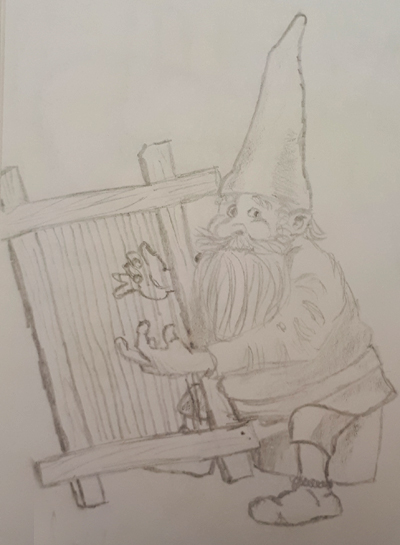 A gnome playing the harp