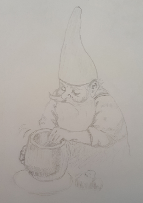 A gnome doing pottery