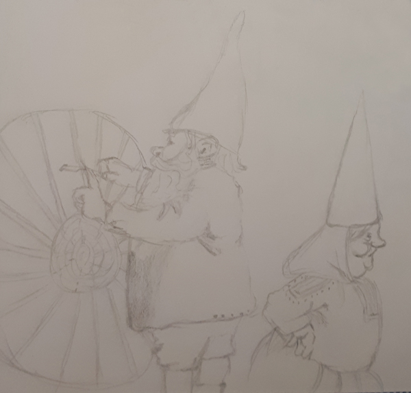A drawing of weaving gnomes