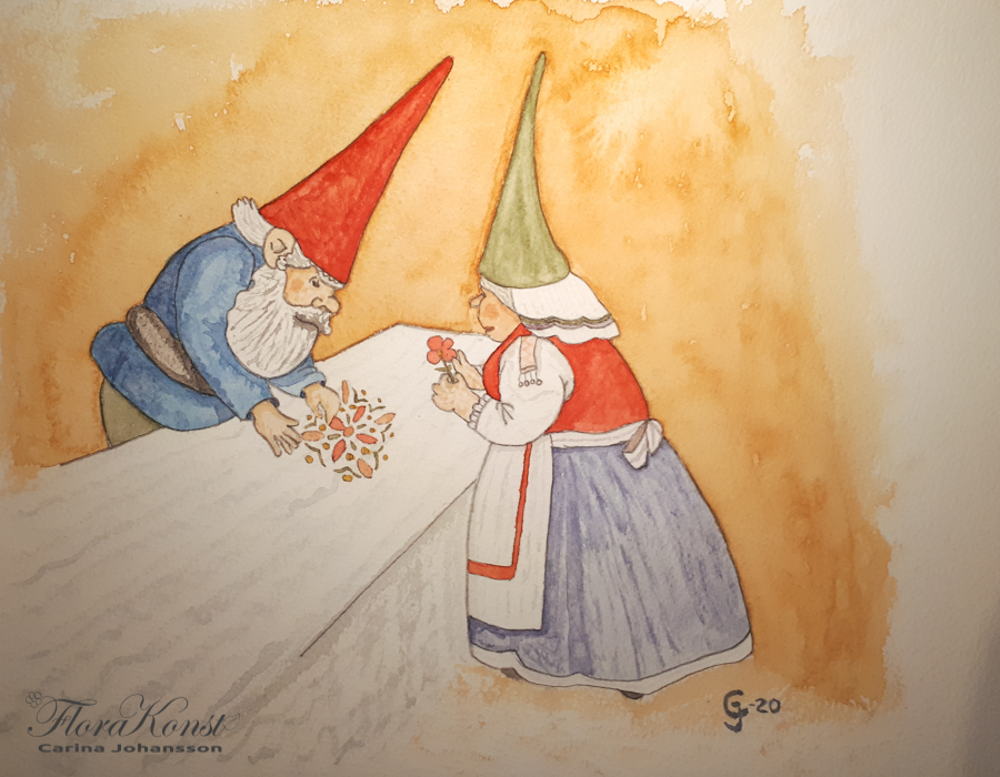 The finished picture of the Gnome couple