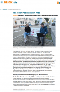 Artikel vom BLICK Chemnitz, Lokalausgabe vom 9. Januar 2021.