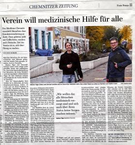 """Freie Presse Artikel vom 4. Januar 2021 """"Verein will medizinische Hile für alle"""""""