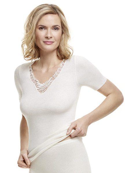 Dames hemd 1174 korte mouwen kant