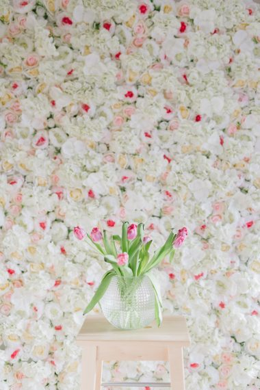 hyr blomstervägg rosa