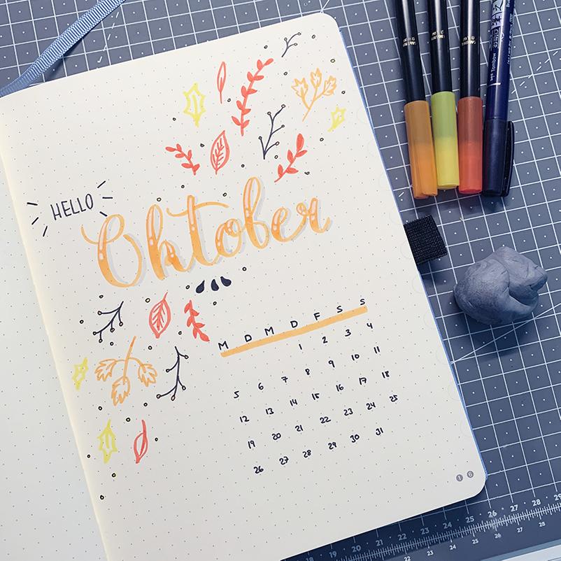 oktober bullet journal setup 2020 deckblatt