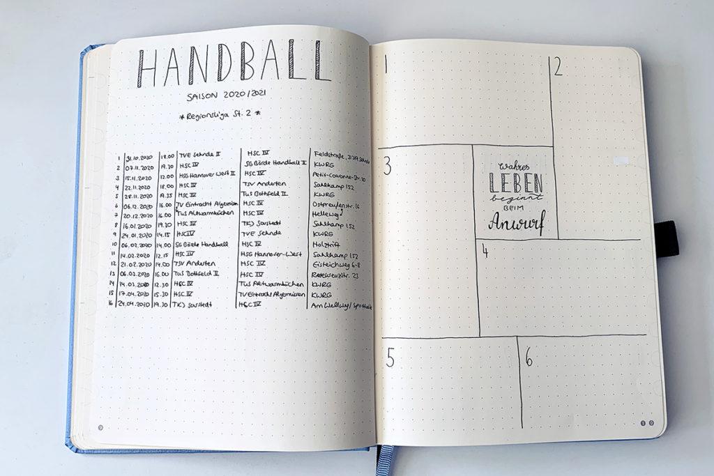 handball bullet journal