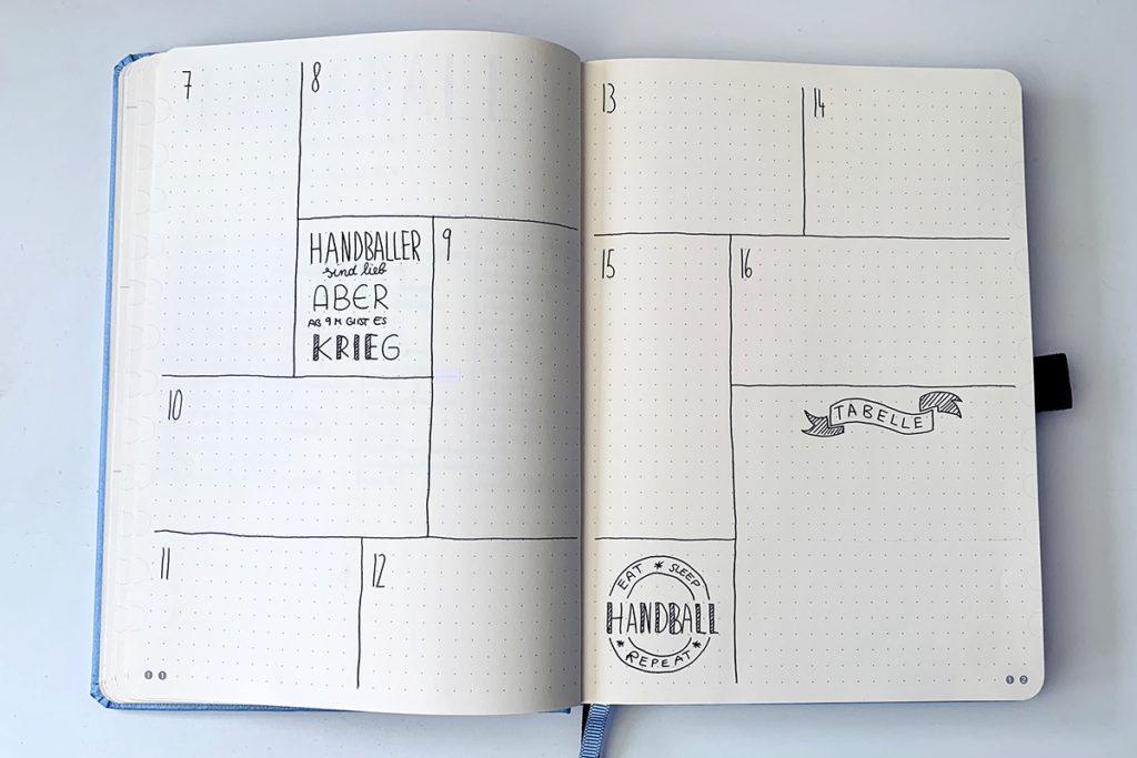handball tracker bullet journal