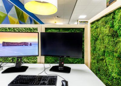 Deskdividers voor social distance and privacy. Bekleed met duurzaam onderhouderhoudsvrij mos.