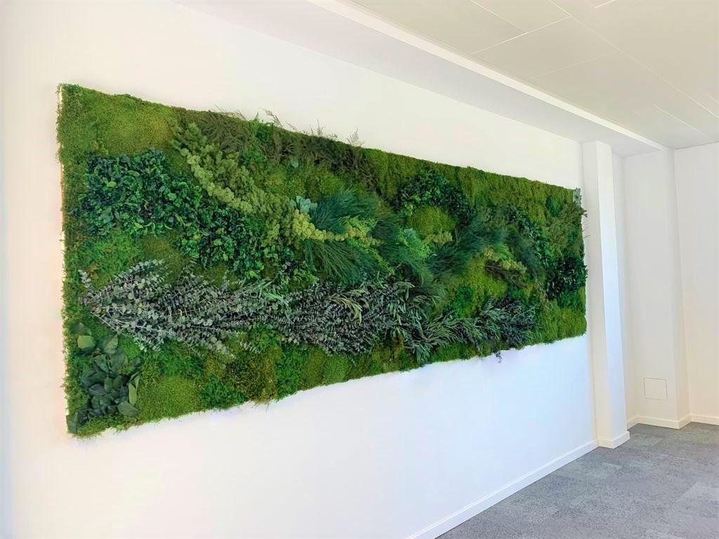 Jungle wall schilderij, Urbanjungle schilderij met echt mos en echte planten en toch onderhoudsvrrij