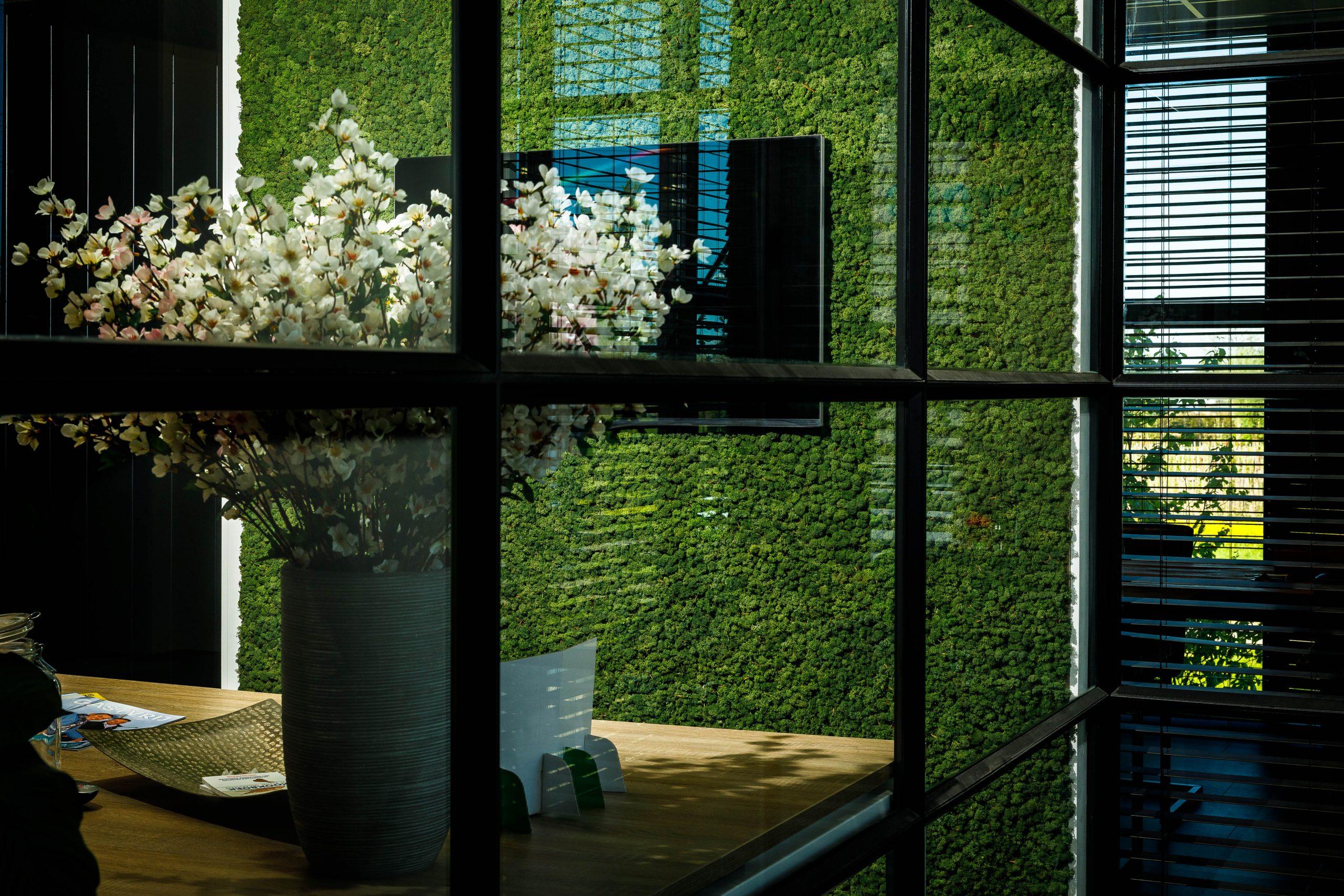 Rendiermos wand in modern kantoor pand waarbij het groen prachtig uitkomt bij de zwarte metalen kozijnen en grote witten boeketten bloemen