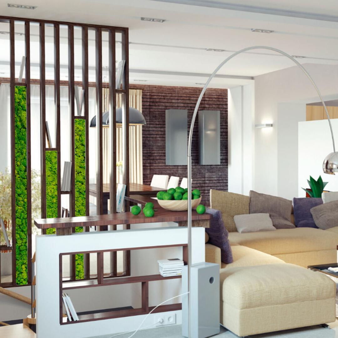 Mospanelen creatief verwerkt in een moderne roomdiver