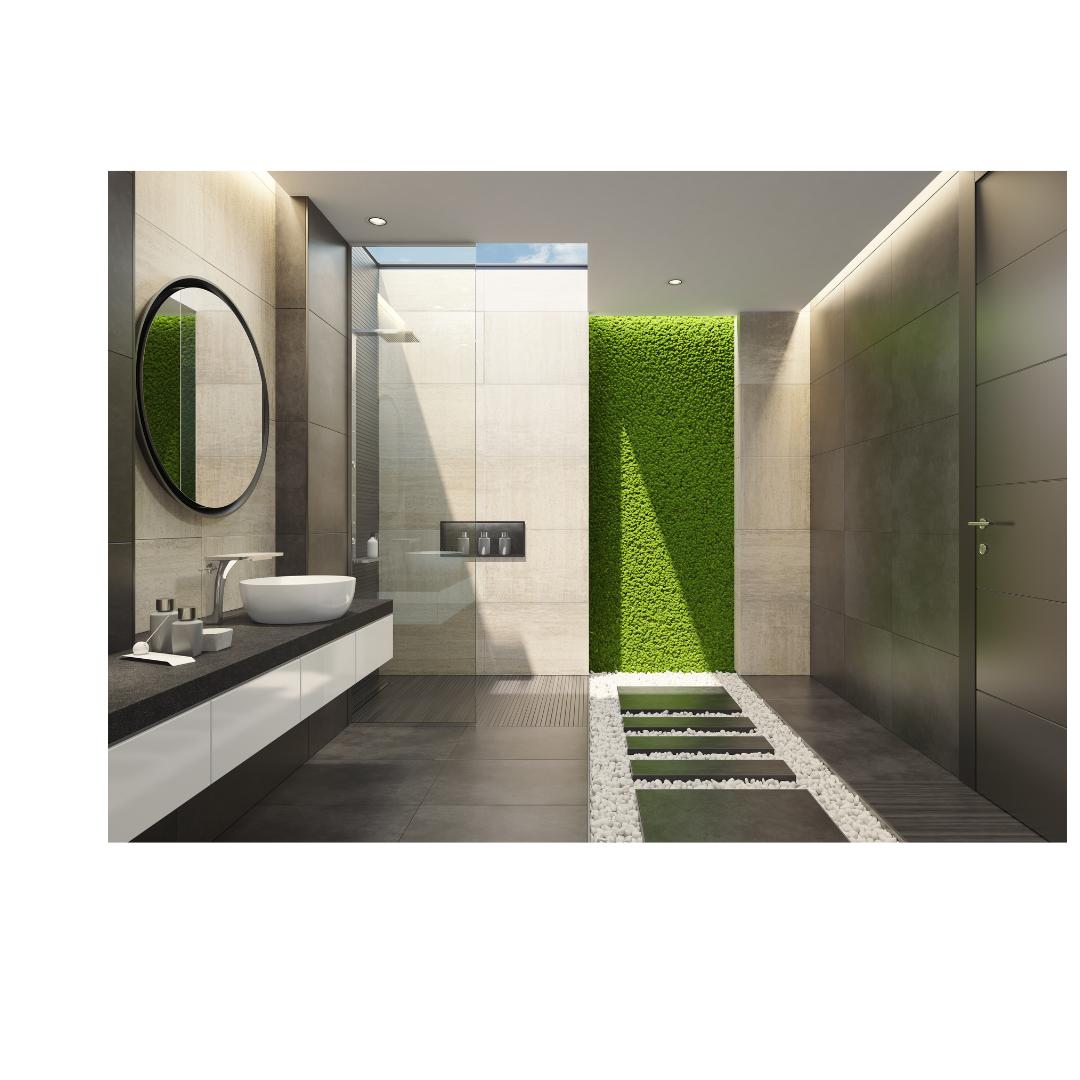 Moswand in de badkamer zonder onderhoud
