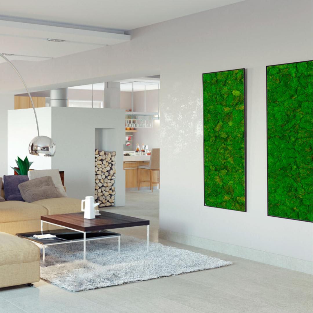 Lange mosschilderijen in woonkamer