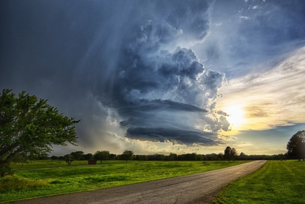Storm over land