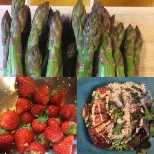 Sparris,jordgubbar och egen middag .