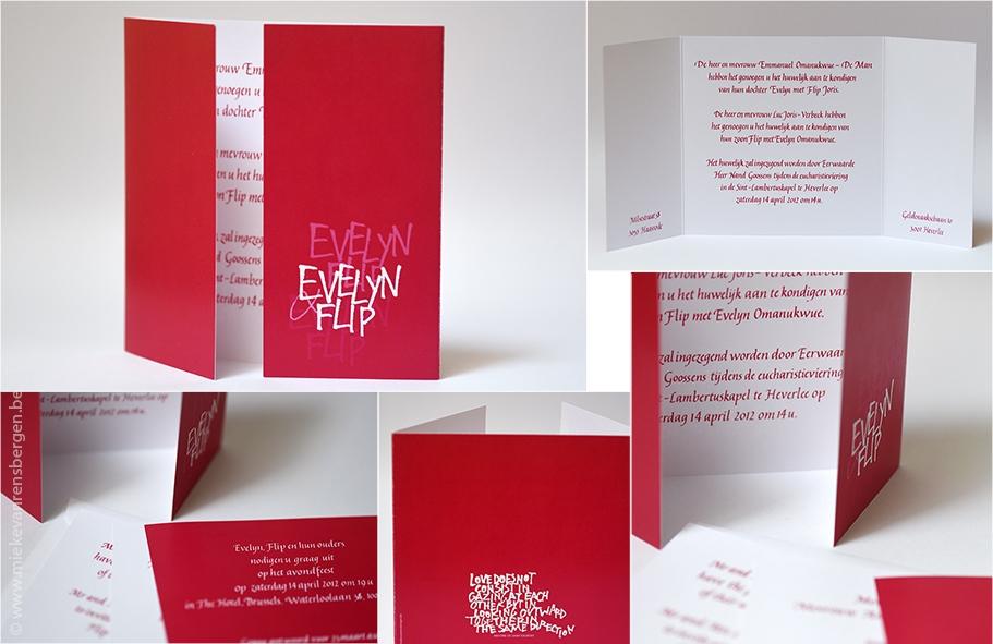 huwelijksuitnodiging Evelyn en Flip (Kalligrafie + computer)