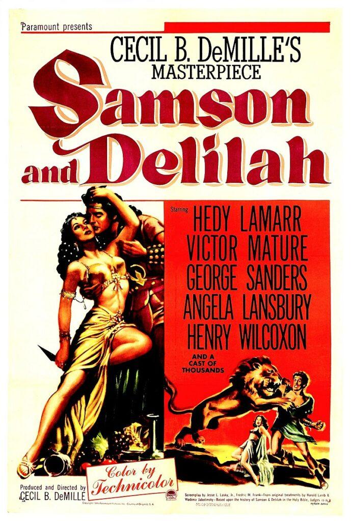 Poster de la película Sansón y Dalila. Sansón se alimenta de miel.