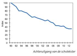 Achteruitgang van de scholekster sinds 1990 (bron: Vogelbescherming - Scholeksteronderzoek Assen en omgeving)