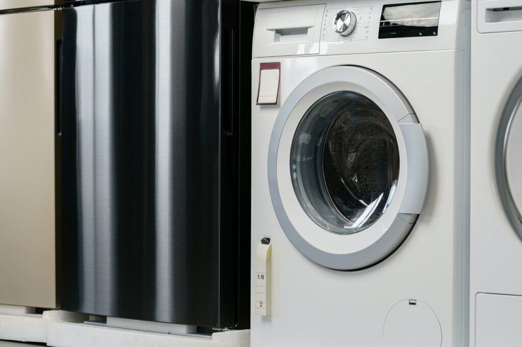 New washing machine in a home appliances store