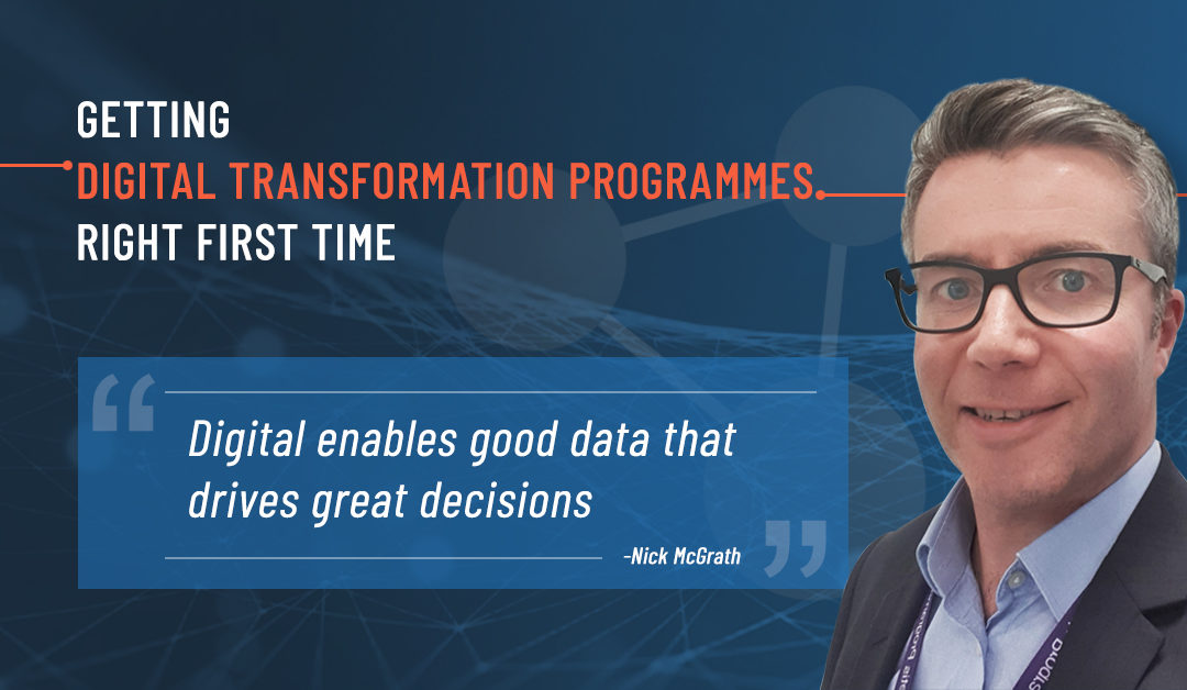 Depicts a photo of Nick McGrath with a Digital Transformation background