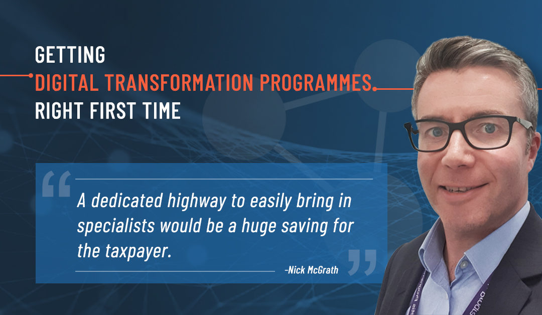 Depicts a photo of Nick McGrath with a Digital Transformation background (Execution)