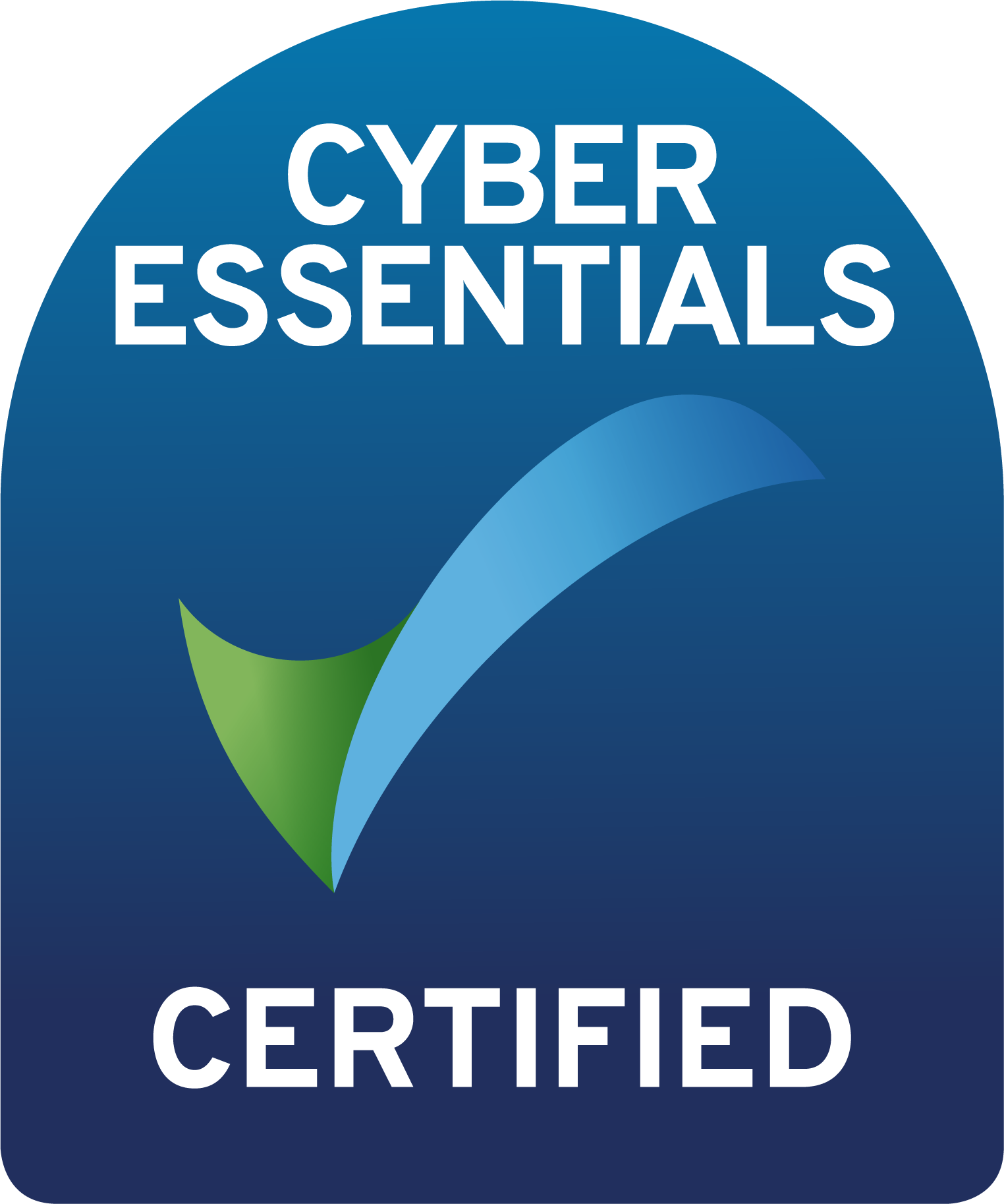 Shows a Cyber Essentials Certified Badge