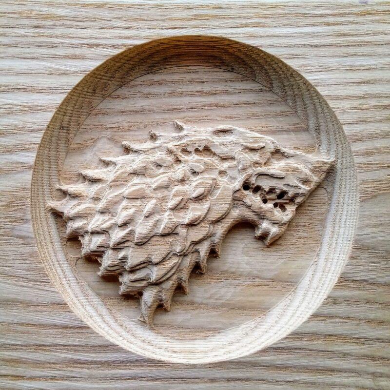 Game of Thrones House Stark Direwolf in Ash