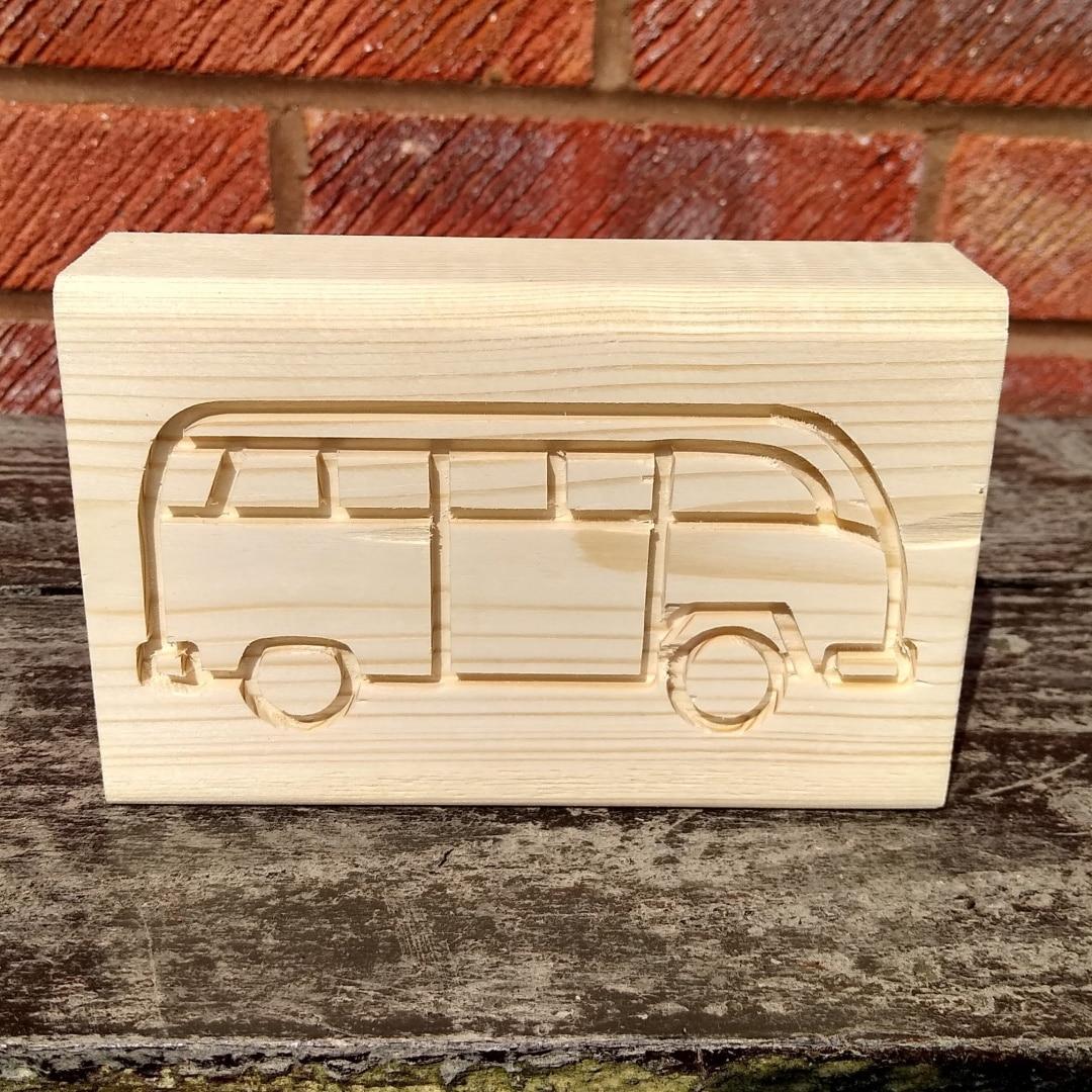campervan wood block carving