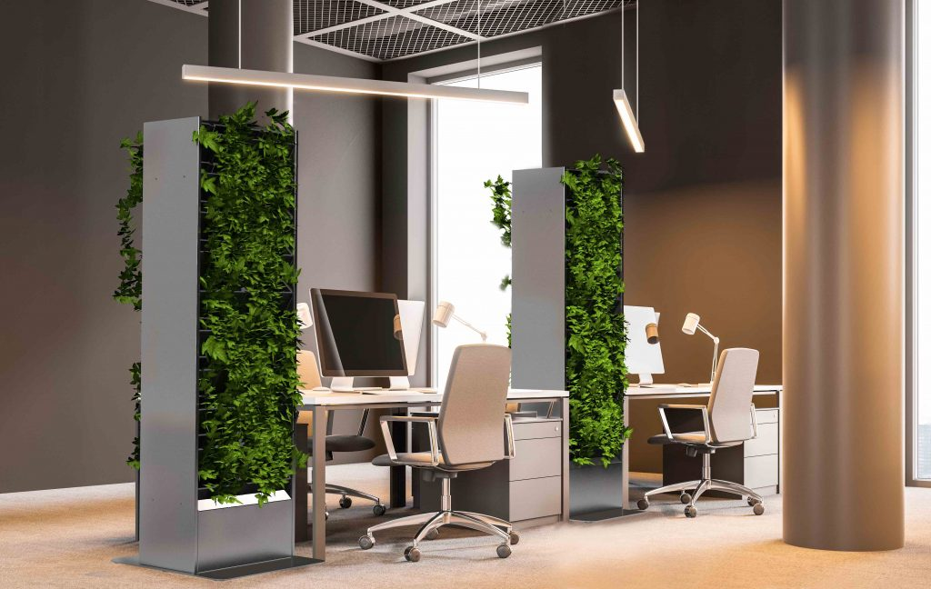 MiLiving Board plantenzuil, groene wand voor plaatsing in leefruimten en burelen.