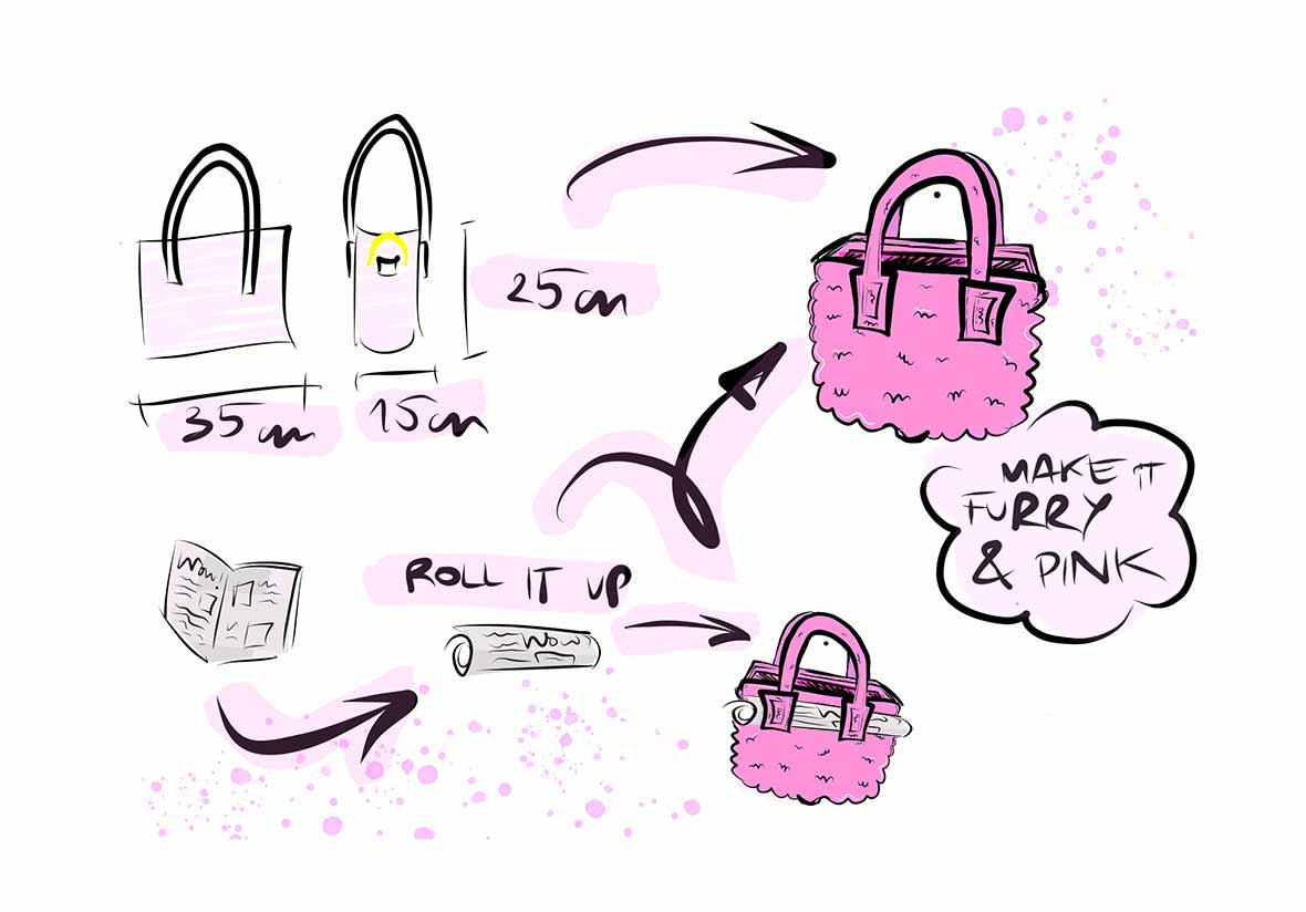 furry pink hot satchel teddy bag sketches made in adobe fresco on the ipad