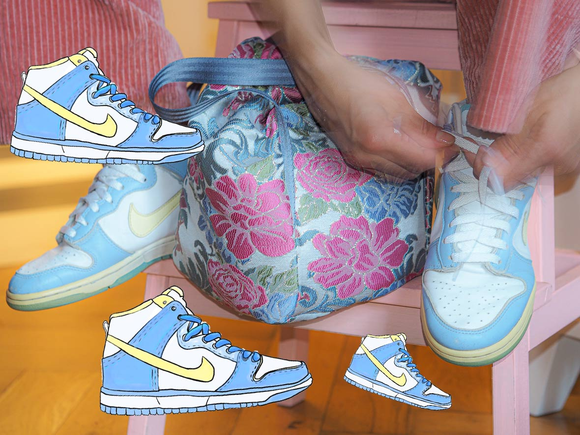 molto alexandra kaminski putting on her favourite nike dunk sneakers from 2004 illustrated with retro dunks in baby blue and yellow
