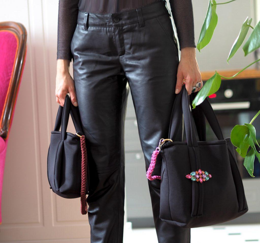posing molto with neoprene bags handmade