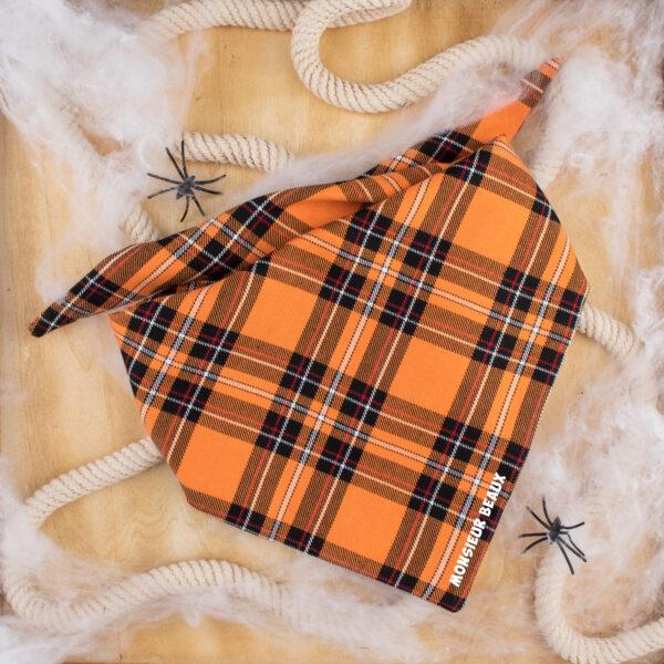 bandana, hond, ruitjes, oranje, tartan
