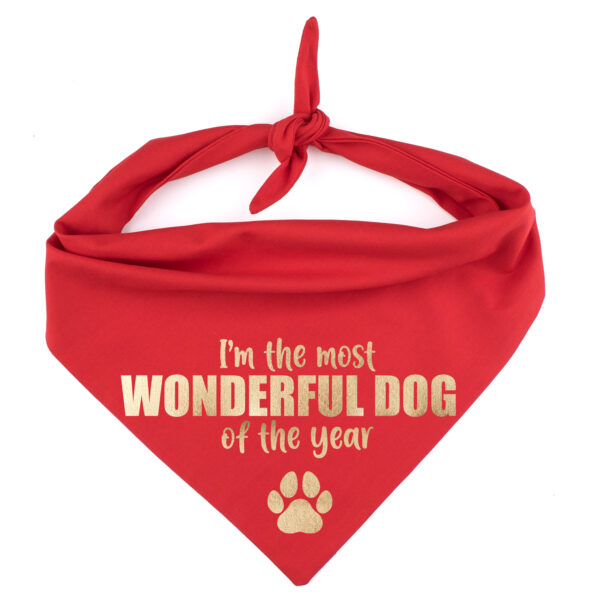 kerstbandana hond, I'm the most Wonderful dog of the year, kerstmis hond