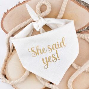 bandana, hond, huwelijk, aankondiging, she said yes, trouw, hondenbandana