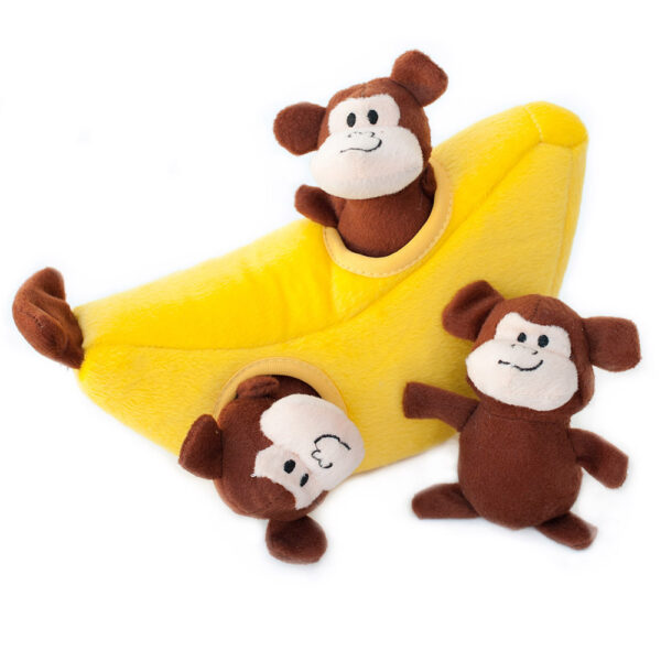 hondenspeelgoed, speeltje hond, leuk, grappig, zippypaws, speelgoed voor honden, banaan, aapjes
