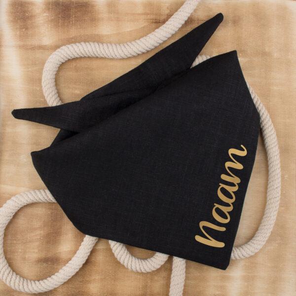 linnen hondenbandana, bandana hond, personaliseren, met naam, zwart