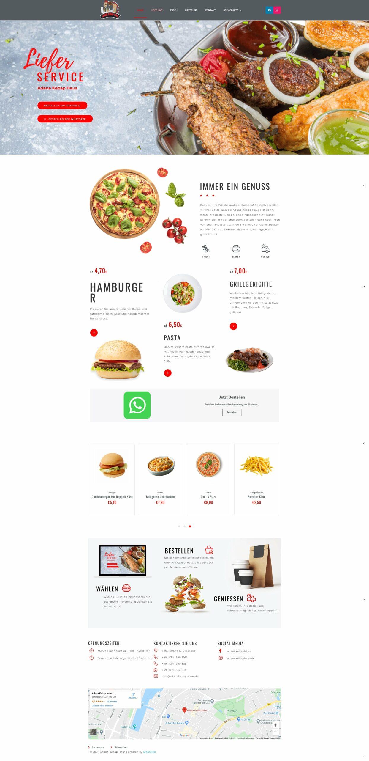 Webseite von Adana Kebabhaus