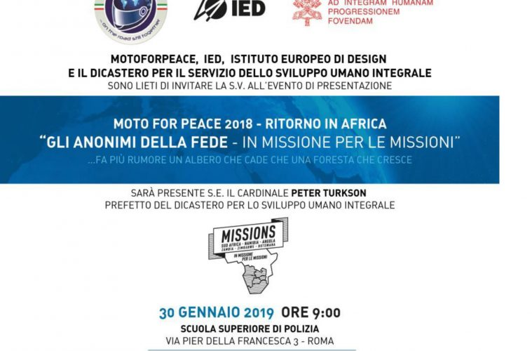 Invito MotoForPeace 30 Gennaio 2019