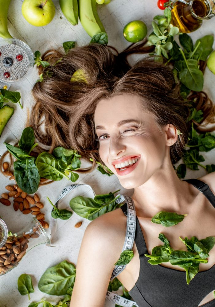 Beauty,Portrait,Of,A,Woman,Surrounded,By,Various,Healthy,Food