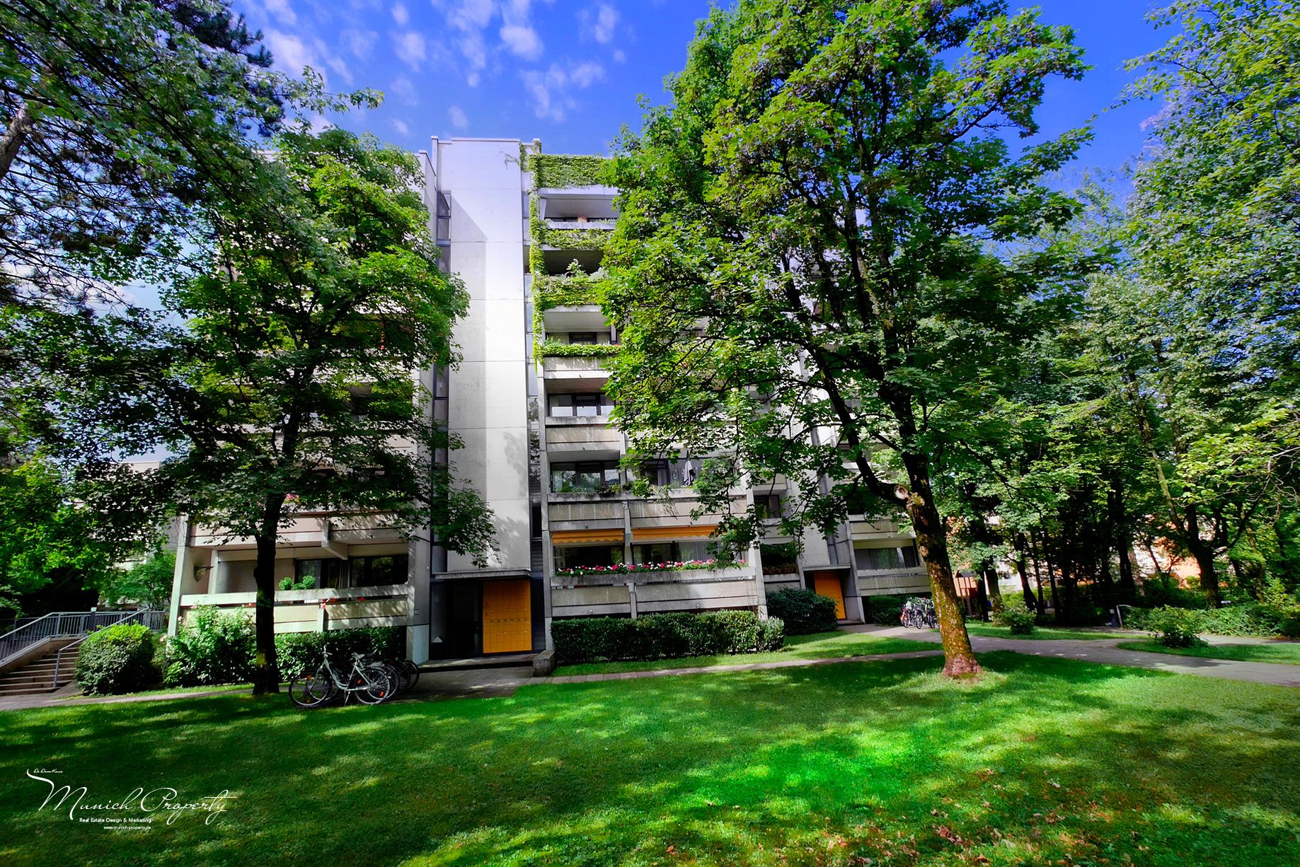 Wohnung München Bogenhausen Fideliopark Knappertsbuschstrasse: gepflegte grüne Wohnanlage