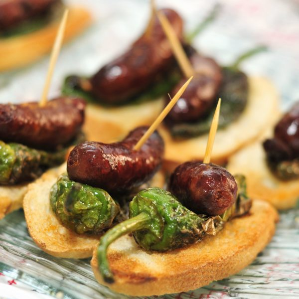 closeup of a plate with spanish pinchos